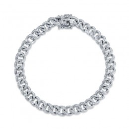 1.05ct 14k White Gold Diamond Pave Chain Bracelet