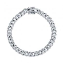 1.05ct 14k White Gold Diamond Pave Chain Bracelet