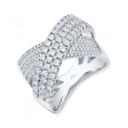 1.16ct 14k White Gold Diamond Bridge Ring