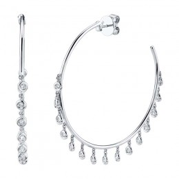 0.90ct 14k White Gold Diamond Shaker Hoop Earring