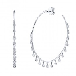 1.04ct 14k White Gold Diamond Shaker Hoop Earring