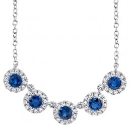 0.16ct Diamond and 0.49ct Blue Sapphire 14k White Gold Lady