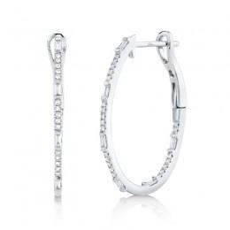 0.31ct 14k White Gold Diamond Oval Hoop Earring