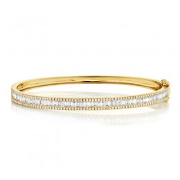 1.74ct 14k Yellow Gold Diamond Baguette Bangle