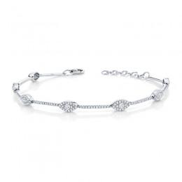 0.88ct 14k White Gold Diamond Eye Bracelet