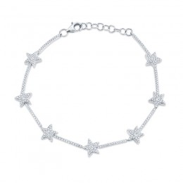0.84ct 14k White Gold Diamond Star Bracelet