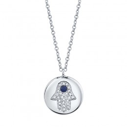 0.08ct Diamond & 0.04ct Blue Sapphire 14k White Gold Diamond Hamsa Necklace