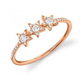 0.20ct 14k Rose Gold Diamond Star Ring
