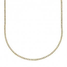 3.96ct 14k Yellow Gold Diamond Tennis Necklace