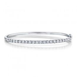 0.69ct 14k White Gold Diamond Bangle