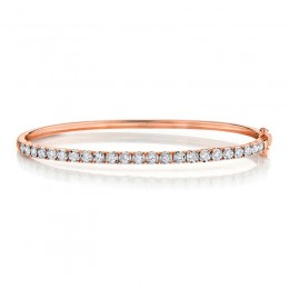0.69ct 14k Rose Gold Diamond Bangle
