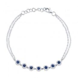 0.21ct Diamond & 0.53ct Blue Sapphire 14k White Gold Diamond Bracelet