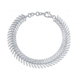 1.45ct 14k White Gold Diamond Feather Bracelet