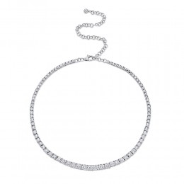 4.39ct 14k White Gold Diamond Tennis Necklace