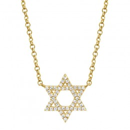 0.11ct 14k Yellow Gold Diamond Star of David Necklace