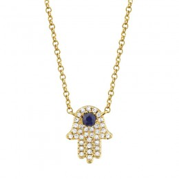 0.09ct Diamond & 0.08ct Blue Sapphire 14k Yellow Gold Diamond Hamsa Necklace