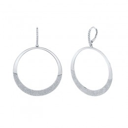 1.37ct 14k White Gold Diamond Pave Circle Earring