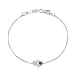 0.09ct Diamond & 0.08ct Blue Sapphire 14k White Gold Diamond Hamsa Bracelet