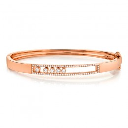 0.42ct 14k Rose Gold Diamond Slider Bangle
