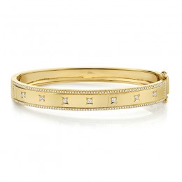 0.55ct 14k Yellow Gold Diamond Bangle