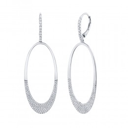 0.94ct 14k White Gold Diamond Pave Oval Earring