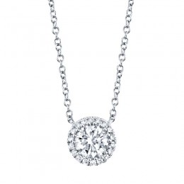 0.40ct Round Brilliant Center and 0.06ct Side 14k White Gold Diamond Necklace