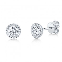 0.80ct Round Brilliant Center and 0.10ct Side 14k White Gold Diamond Stud Earring