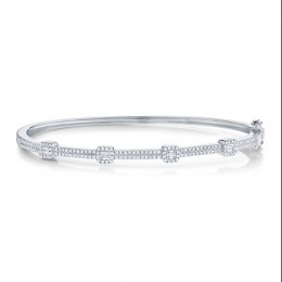 0.52ct 14k White Gold Diamond Baguette Bangle