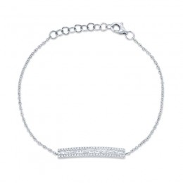0.40ct 14k White Gold Diamond Baguette Bar Bracelet