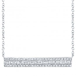 0.40ct 14k White Gold Diamond Baguette Bar Necklace