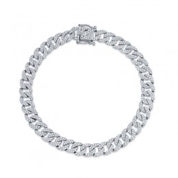 1.69ct 14k White Gold Diamond Pave Chain Bracelet