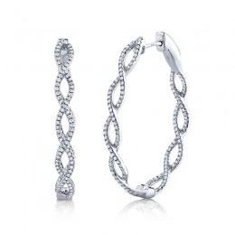 0.89ct 14k White Gold Diamond Oval Hoop Earring
