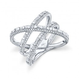 1.08ct 14k White Gold Diamond Baguette Bridge Ring