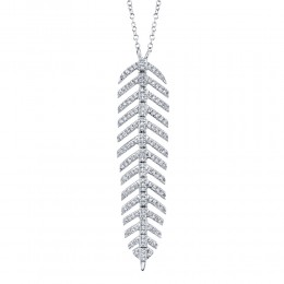 0.29ct 14k White Gold Diamond Feather Necklace