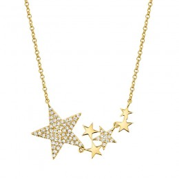 0.18ct 14k Yellow Gold Diamond Star Necklace