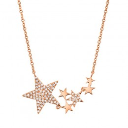 0.18ct 14k Rose Gold Diamond Star Necklace