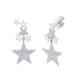 0.35ct 14k White Gold Diamond Star Earring