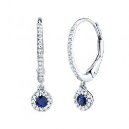 0.15ct Diamond and 0.23ct Blue Sapphire 14k White Gold Earring