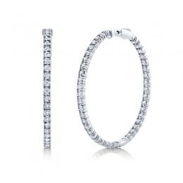 2.65ct 14k White Gold Diamond Hoop Earring
