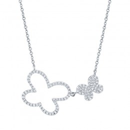 0.25ct 14k White Gold Diamond Butterfly Necklace