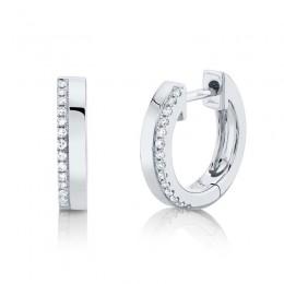 0.08ct 14k White Gold Diamond Huggie Earring