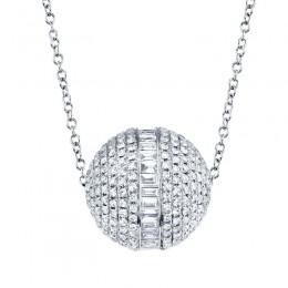 Ct 14k White Gold Diamond Baguette Barrel Necklace