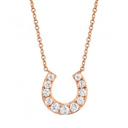 0.36ct 14k Rose Gold Diamond Horseshoe Necklace