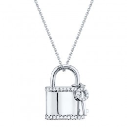 0.21ct 14k White Gold Diamond Lock & Key Necklace