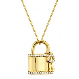 0.21ct 14k Yellow Gold Diamond Lock & Key Necklace