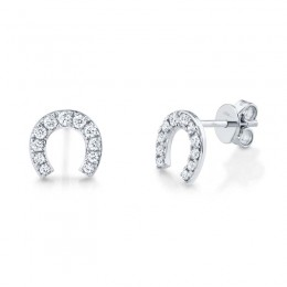 0.32ct 14k White Gold Diamond Horseshoe Stud Earring