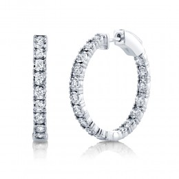 1.06ct 14k White Gold Diamond Hoop Earring