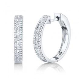 0.58ct 14k White Gold Diamond Baguette Hoop Earring