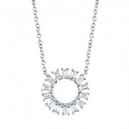 0.26ct 14k White Gold Diamond Circle Baguette Necklace