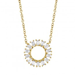 0.26ct 14k Yellow Gold Diamond Circle Baguette Necklace